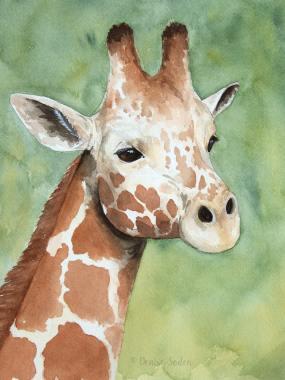 #WorldWatercolorGroup - Watercolor by Denise Soden - giraffe - Doodlewash
