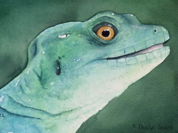 #WorldWatercolorGroup - Watercolor by Denise Soden - lizard - Doodlewash