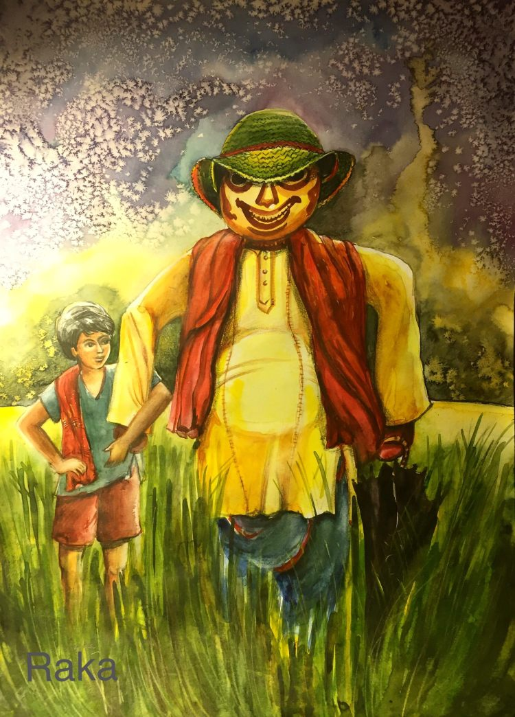 While travelling, a fleeting glimpse of a scarecrow , standing tall in a vast expanse of wheat field