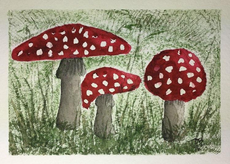 "5"" x 7"" watercolor – Amanita Muscaria – 2016 #worldwatercolorgroup #tdbdraw #waterco"