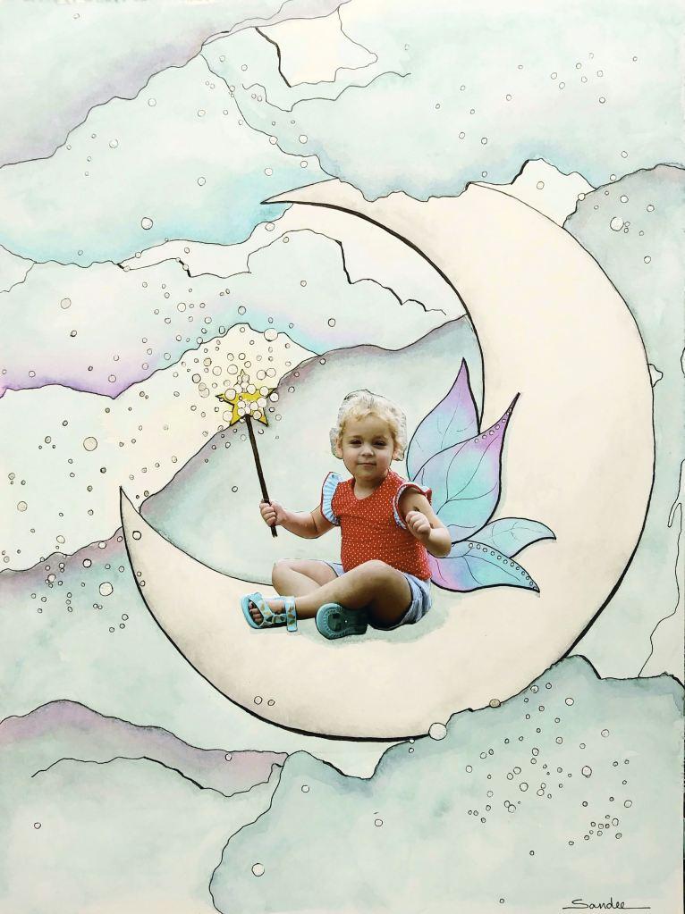 """Moon Child"" #Hahnemühle #Leonardo paper Moon child by Sandee Setliff"