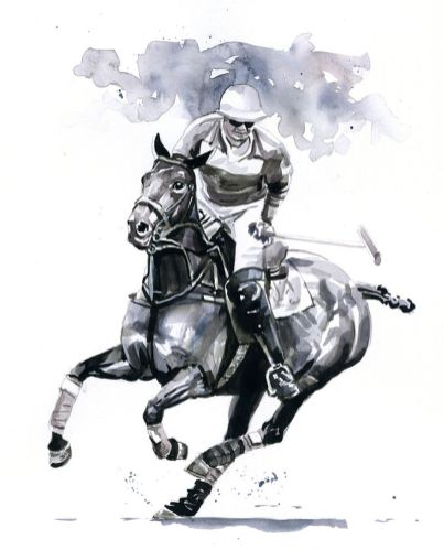#WorldWatercolorGroup - horse and rider grayscale - Watercolour by Tim Olden - Doodlewash