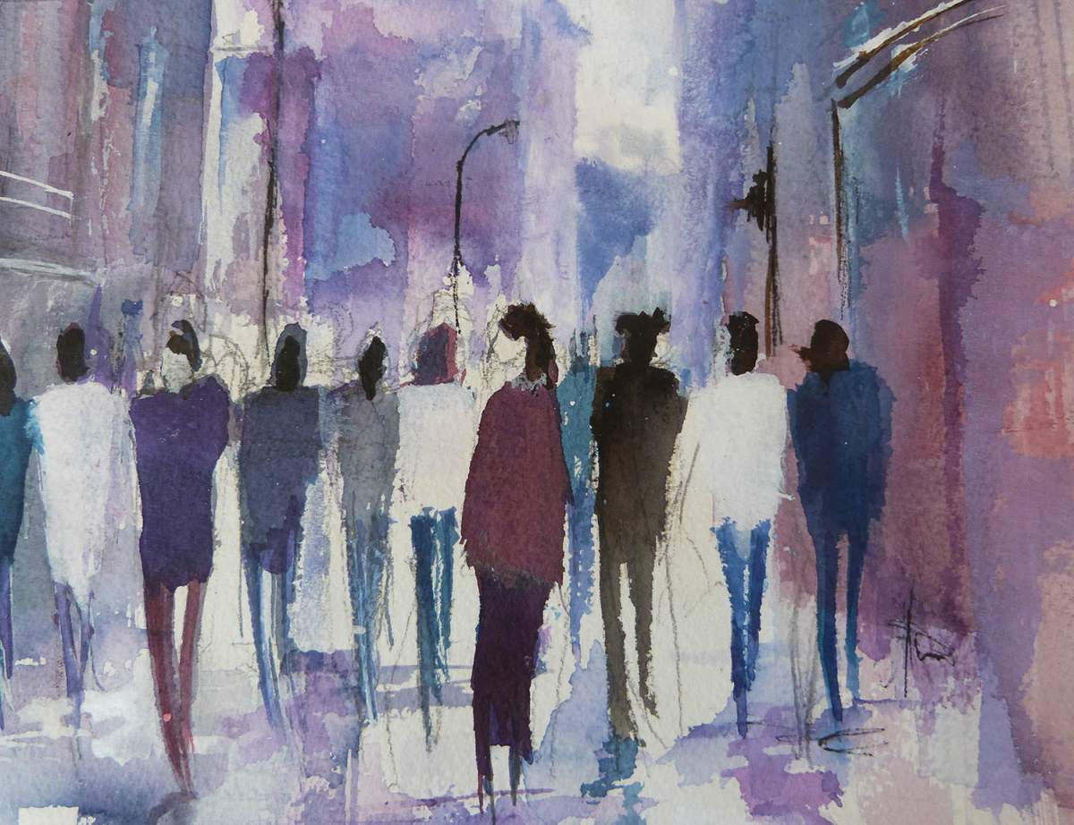 #WorldWatercolorGroup - 'Shopping in Deansgate, Manchester, UK' by Di White - Doodlewash