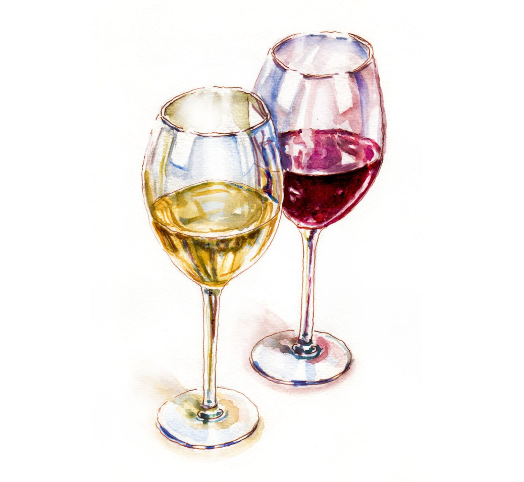 World Watercolor Group - Day 14 - My Favorite Drink - White and Red Wine - Doodlewash