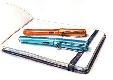 World Watercolor Group - Day 16 - My Favorite Art Supplies - Lamy Safari Pens And Hahnemühle Watercolour Book2