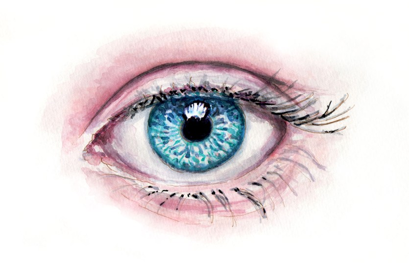 #WorldWatercolorGroup - Day 20 - My Favorite Body Part - Watercolor Blue Eyes - Doodlewash