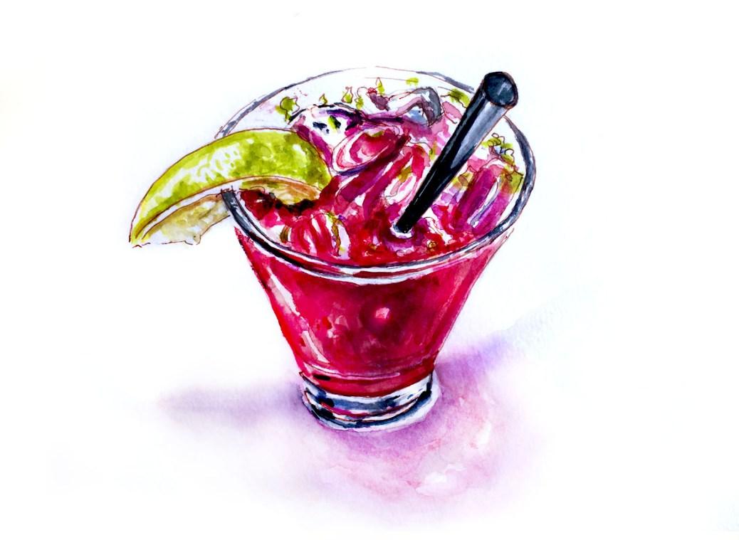 World Watercolor Group - Day 25 - My Favorite Landmark - Blackberry Mojito - Laguna Beach - Doodlewash