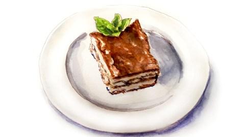 #WorldWatercolorGroup - Day 27 - My Favorite Dinner - Dessert Tiramisu - Doodlewash