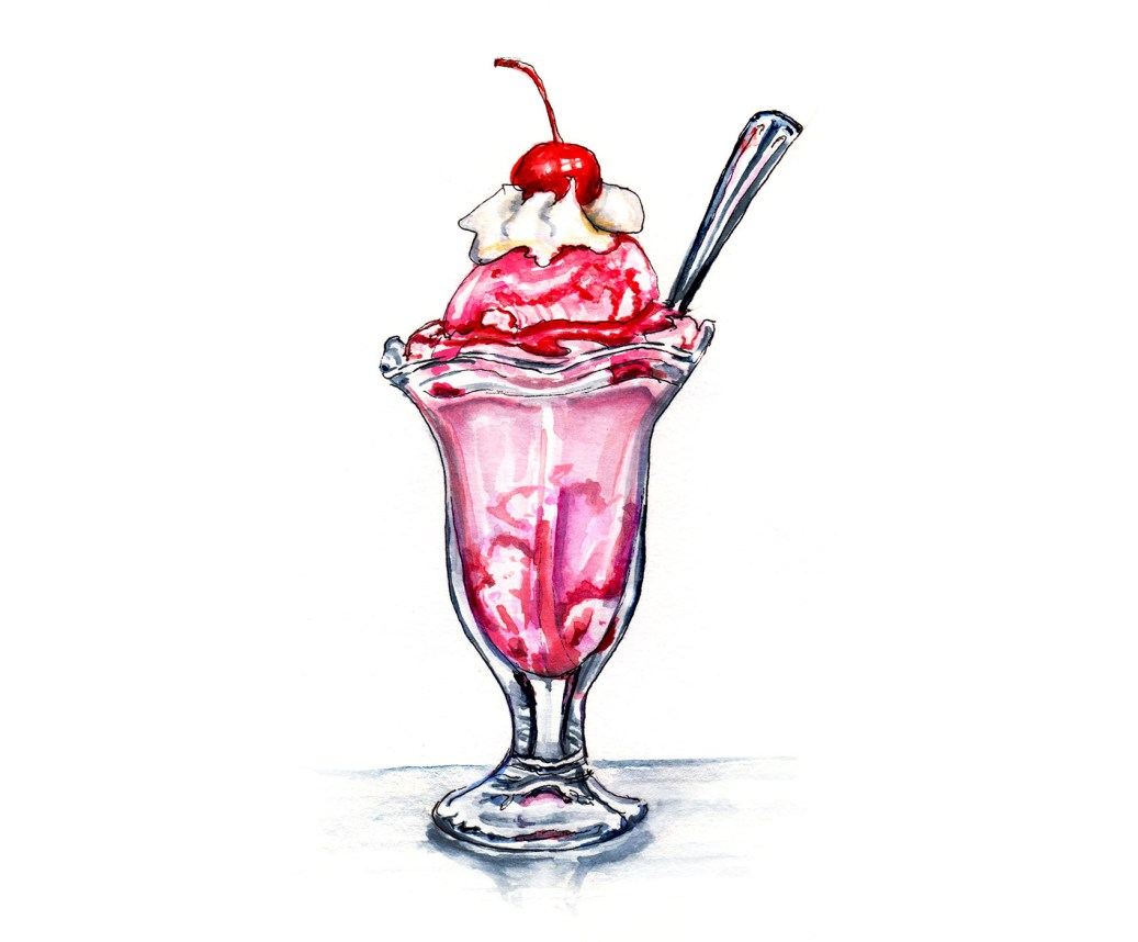 World Watercolor Group - Day 6 - My Favorite Dessert - Strawberry Ice Cream Sundae With Whipped Cream - Doodlewash