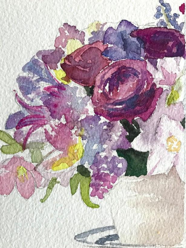 #WorldWatercolorGroup - Watercolor by Brittany Lane Allen - flowers - Doodlewash