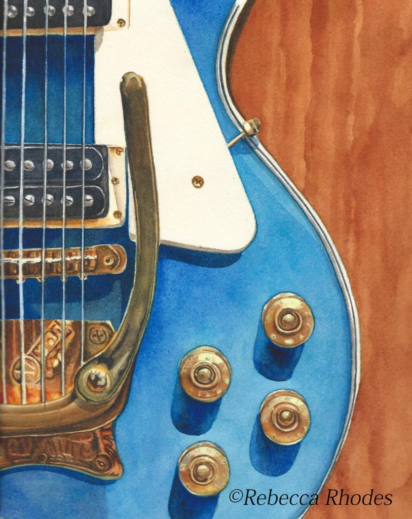 """""""Guitar Blues"""" 8 x 10 on Arches Cold Press Paper by Rebecca Rhodes watercolor-guitar-blu"""