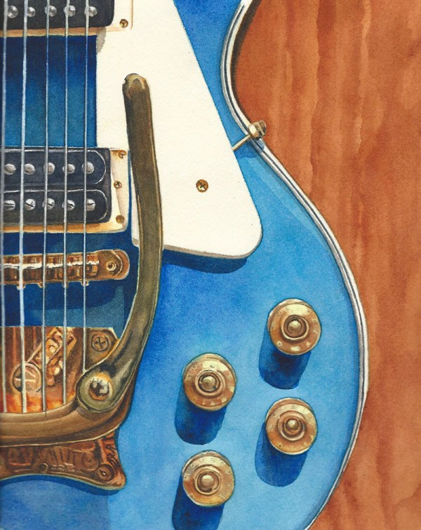 #WorldWatercolorGroup - Watercolor by Rebecca Rhodes - blue guitar - Doodlewash