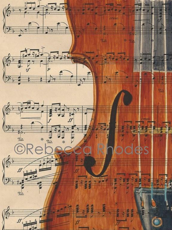 #WorldWatercolorGroup - Watercolor by Rebecca Rhodes - violin sheet music - Doodlewash