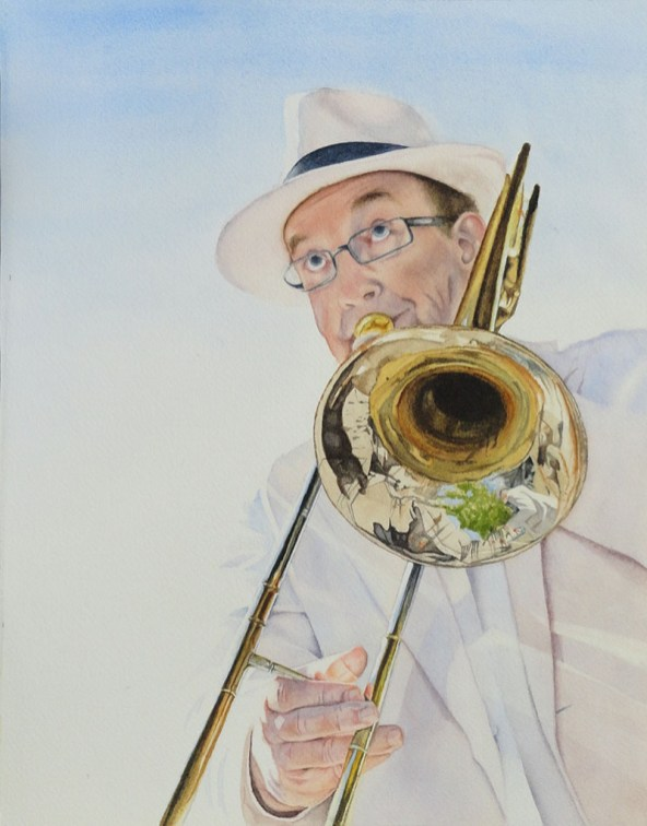 #WorldWatercolorGroup - Watercolor by Rebecca Rhodes - portrait of man playing trombone - Doodlewash