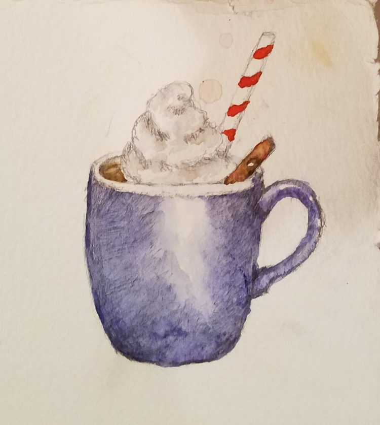#worldwatercolorgroup. Hot cocoa & whipped cream. I'm so disappointed in this. It was so p