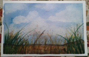Day 73…clouds and grass. Lol, I crack myself up. I wanted to paint clouds last night, but deci
