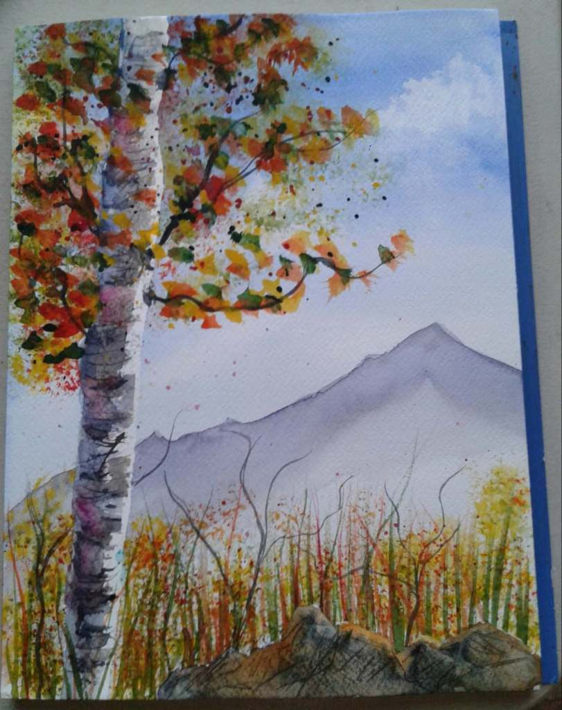 Day 88…autumn birch. Lindsay Weirich has so many lovely Autumn videos to try. Last night I too