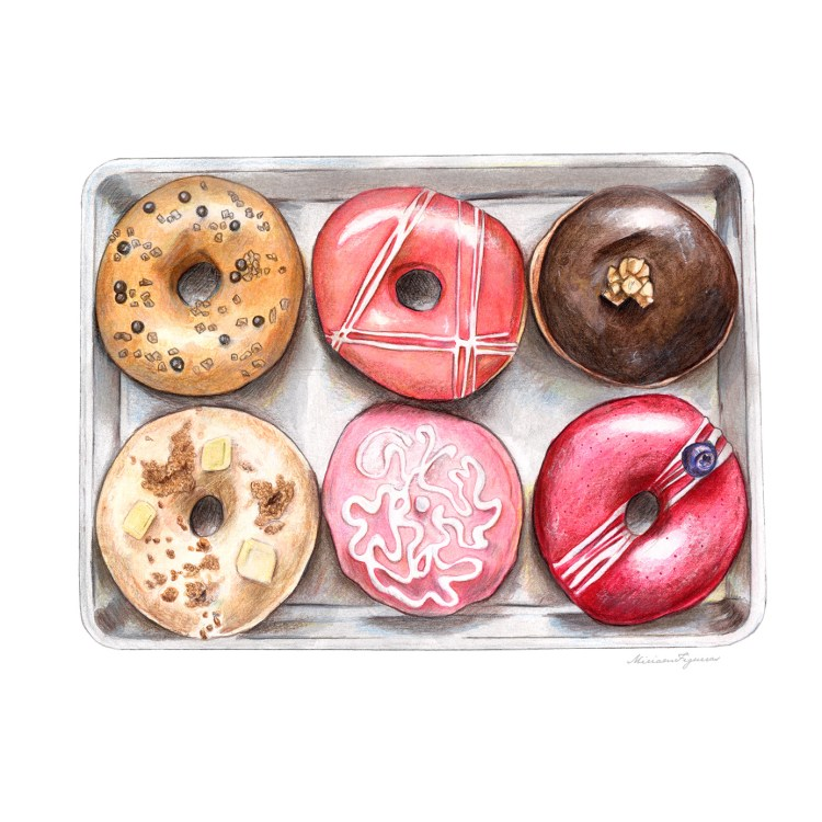 A colorful tray of six donuts painted on Canson Mix Media paper using watercolors, colored pencils,