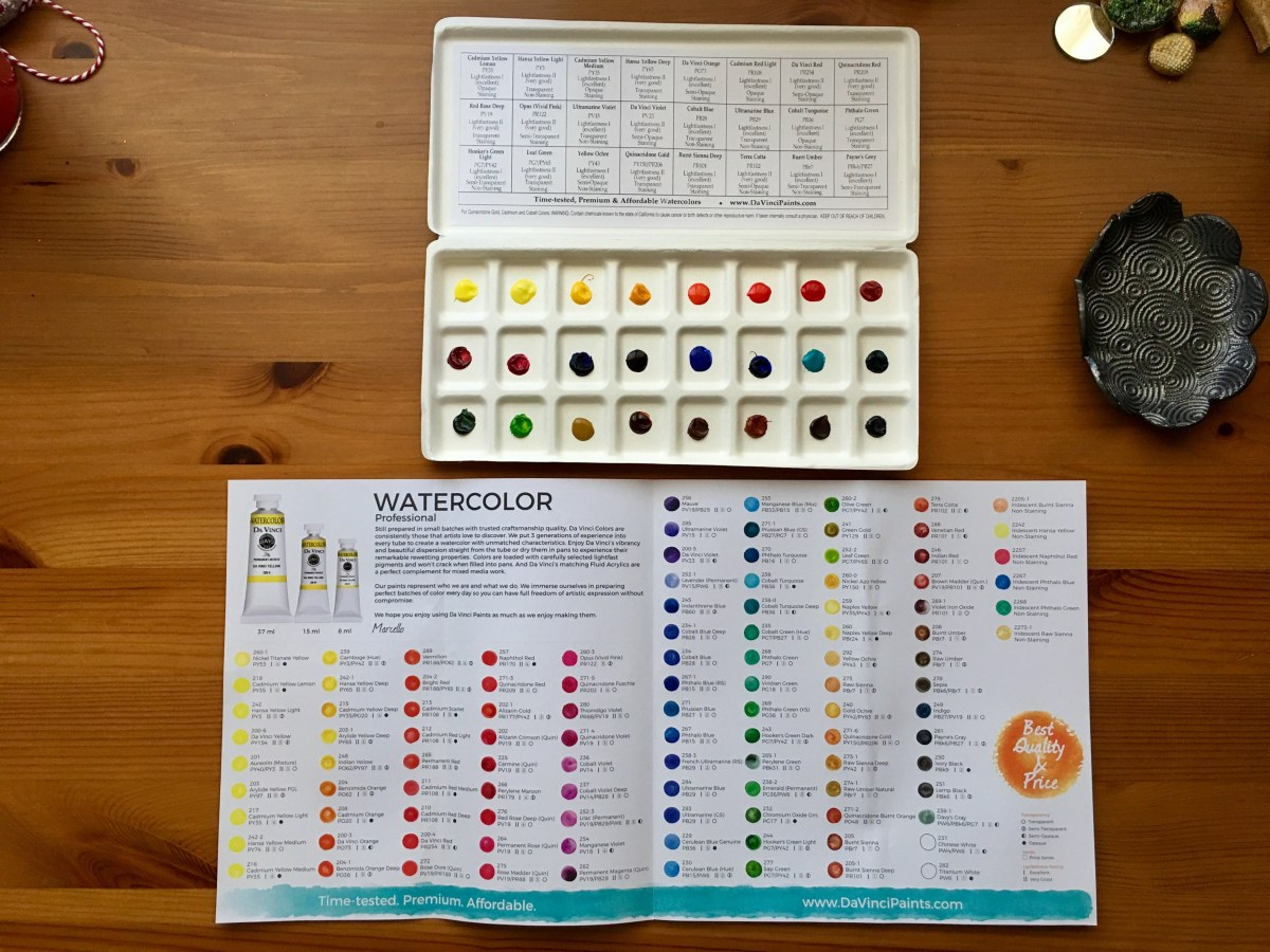 Da vinci watercolors dot card