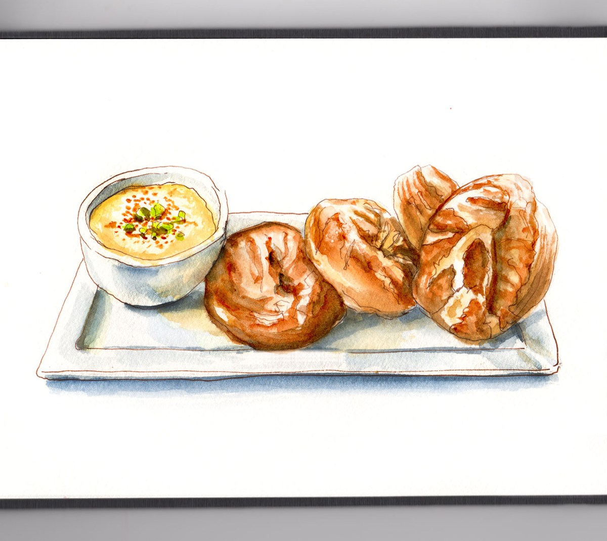 #WorldWatercolorGroup - Day 12 - Freshly Made Bread_Pretzel Bread With Cheese - Doodlewash