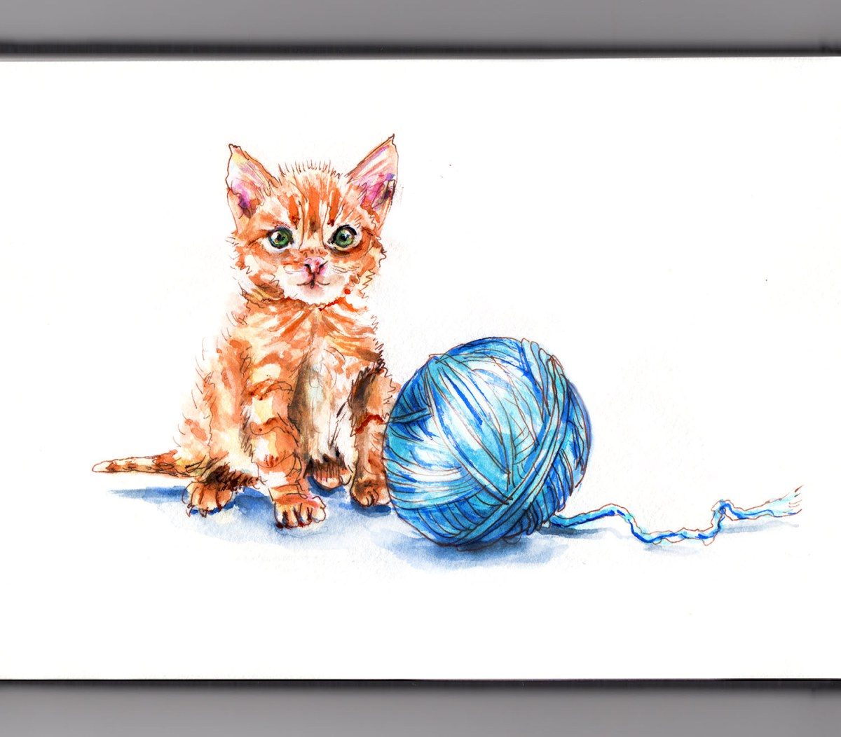 #WorldWatercolorGroup - Day 15 - Playing With A Pet - Cat And Yarn Ball - Doodlewash