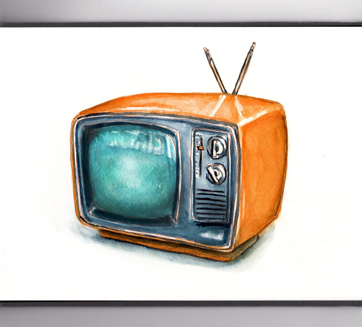 #WorldWatercolorGroup - Day 20 - Watching A Childhood Show - Orange Retro Television - Doodlewash