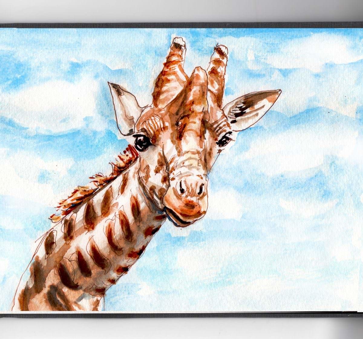 #WorldWatercolorGroup - Day 30 - Watching Clouds Float By Giraffe Watercolor - Doodlewash