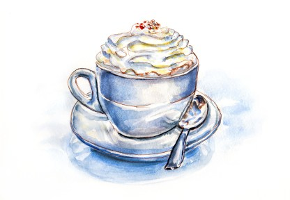 #WorldWatercolorGroup - Day 4 - Hot Chocolate Cocoa and Whipped Cream - Doodlewash
