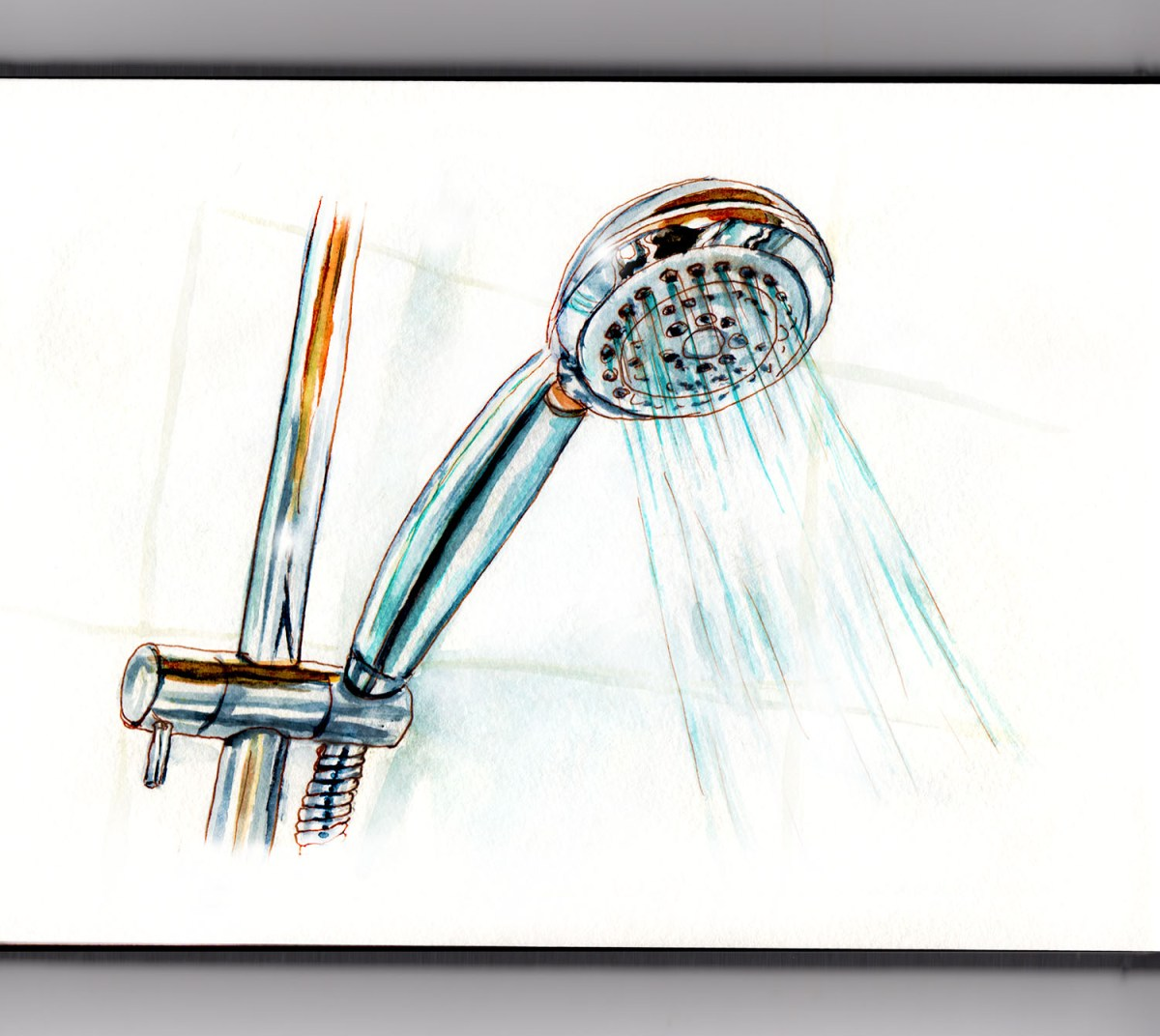 #WorldWatercolorGroup - Day 9 - Singing In The Shower - Showerhead - Doodlewash