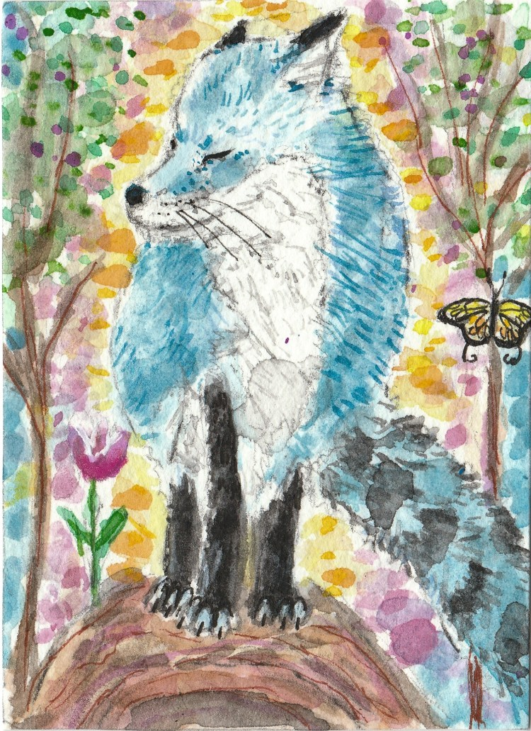 Blue fox watercolor aceo painting IMG_20170911_0001