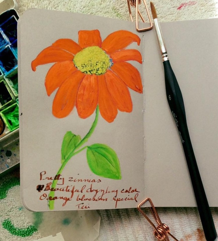 After seeing all those orange zinnias yesterday I HAD to paint one in my #StillmanandBirn gray sketc