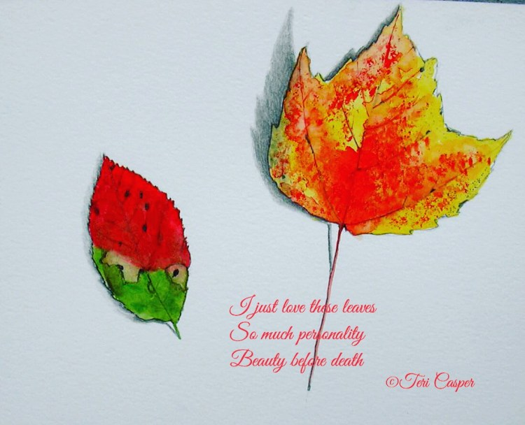I painted these leaves in 2006 when I went leaf painting crazy. So many beautiful ones in the fall.