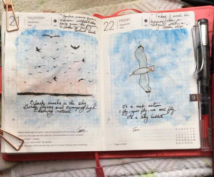 I'm liking these two days of related sketches in my Hobonichi planner. While sitting at the la