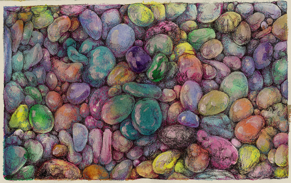 #WorldWatercolorGroup - Watercolor by Sandra Strait - Rockin' the Mixed Media-Watercolor, Micron & Gellyroll on Aquarius II - Doodlewash