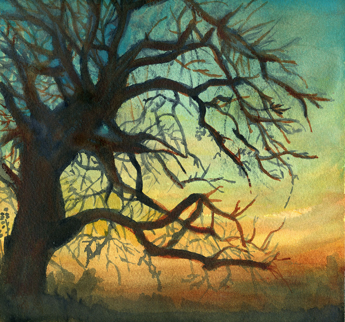 #WorldWatercolorGroup - Watercolor by Sandra Strait - Sunset in Rust and Teal-Cobalt Teal, Quin Rust, New Gamboge on Gemini Coldpress - Doodlewash