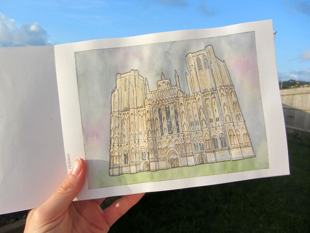 #WorldWatercolorGroup - Watercolour illustration by Clare Willcocks - Wells Cathedral - Doodlewash
