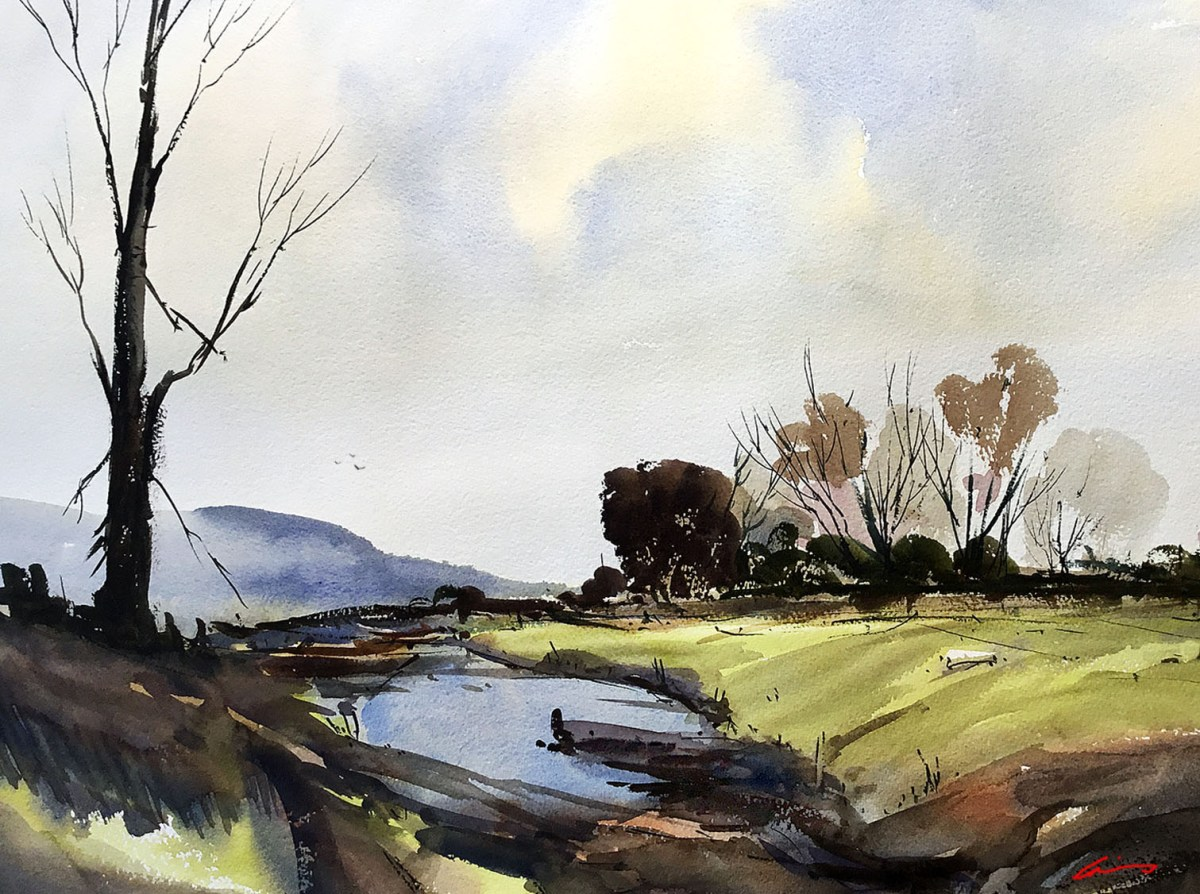 #WorldWatercolorGroup - Watercolor by Posey Gaines - Lazy Hazy Afternoon - Doodlewash