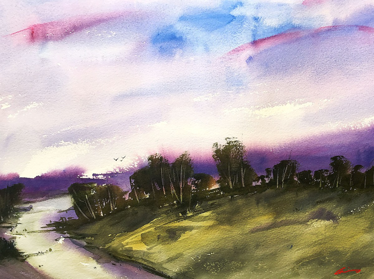 #WorldWatercolorGroup - Watercolor by Posey Gaines - Purple Haze - Doodlewash