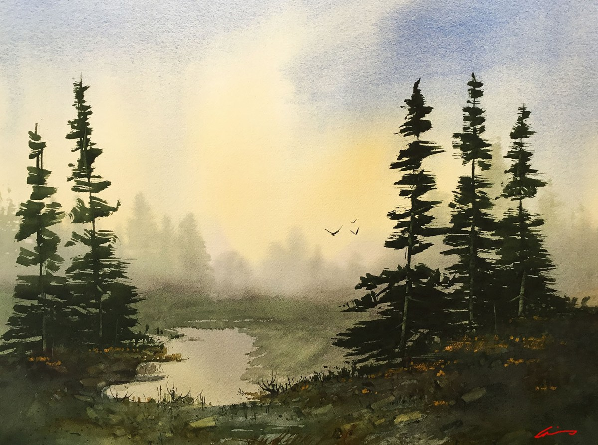 #WorldWatercolorGroup - Watercolor by Posey Gaines - Sunrise Solitude - Doodlewash