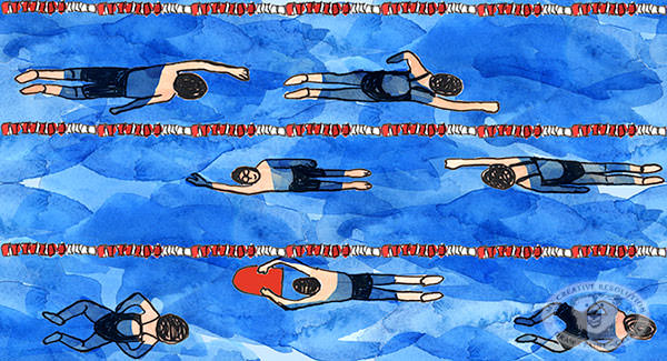 Repeating pattern example swimmers by Eileen McKenna