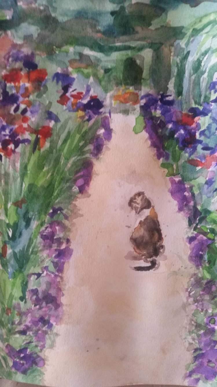 My first upload! Cat in Monet\'s garden. W&N Artist watercolours in a Stillman and Birn Al