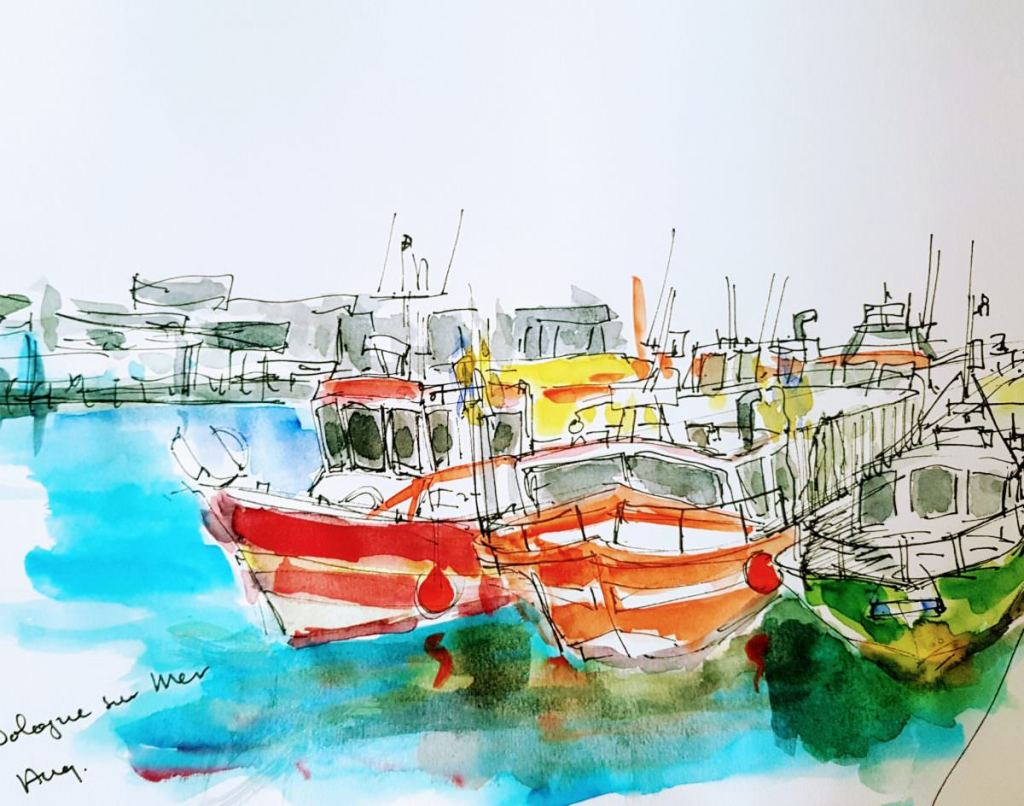 Last summer: Harbor Bologne sur Mer (France) 10 minutes sketch with pen and watercolor 30×20 cm