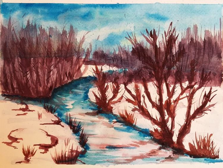 I have been watching some great tutorials and so this is my attempt on a #winter #scenery, pained ve