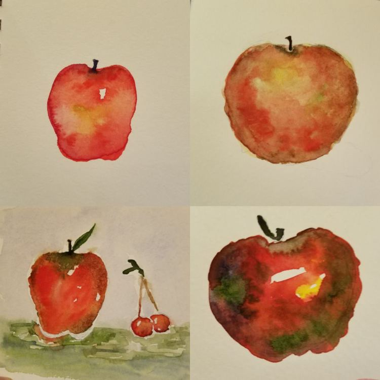 Oct 2 challenge: apples. #doodlewash #worldwatercolorgroup #doodlewashed 20171004_210335