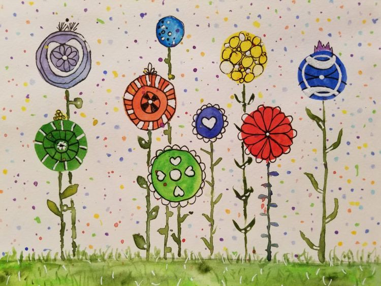 Oct. 13: colorful! I call these my lollipop doodle flowers. Happy Friday the 13th! #worldwatercolorg