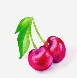 #WorldWatercolorGroup - Watercolor by Bree Smith - Cherries - Doodlewash