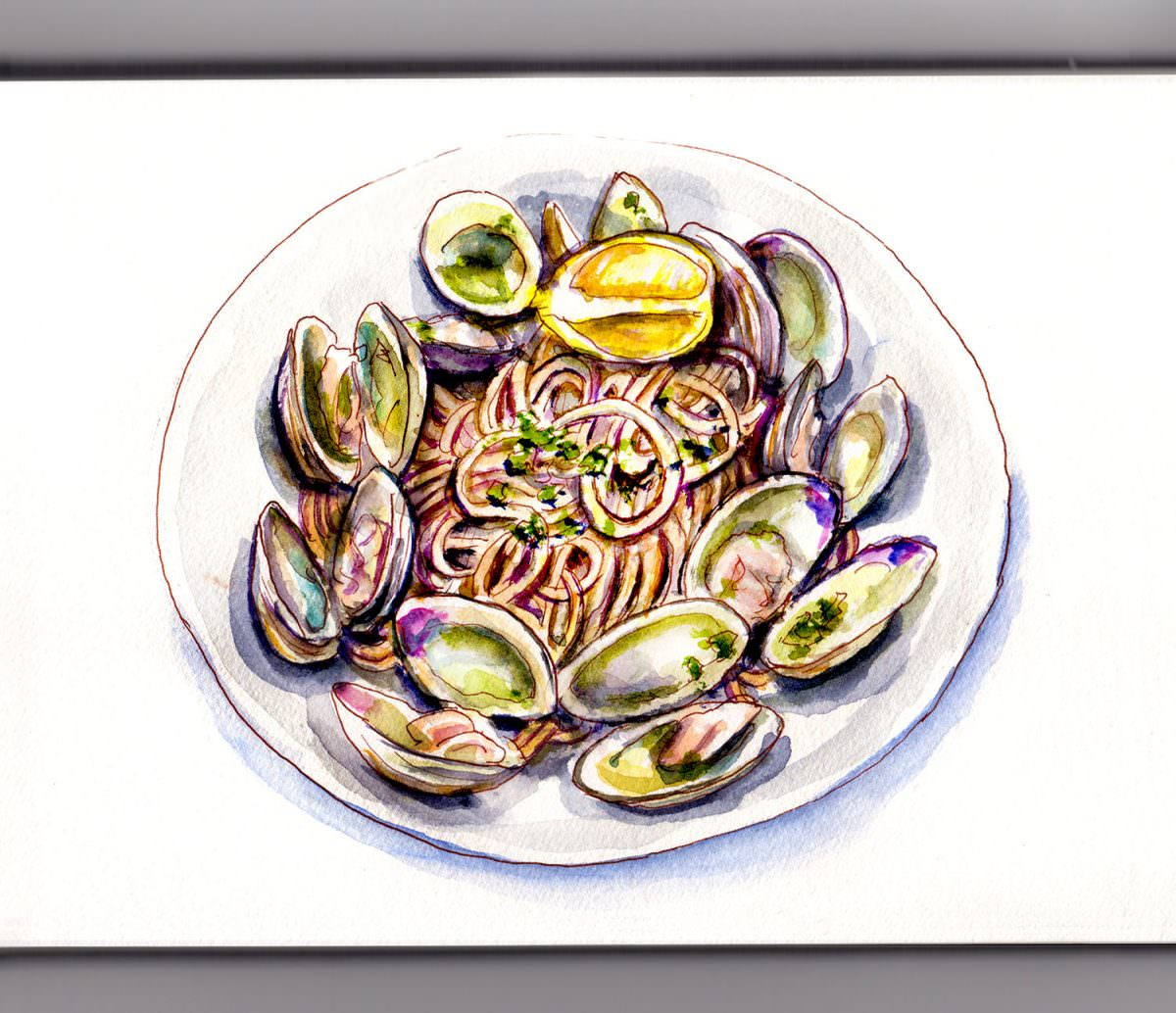 #WorldWatercolorGroup - Day 10 - Pasta And Clams - Doodlewash