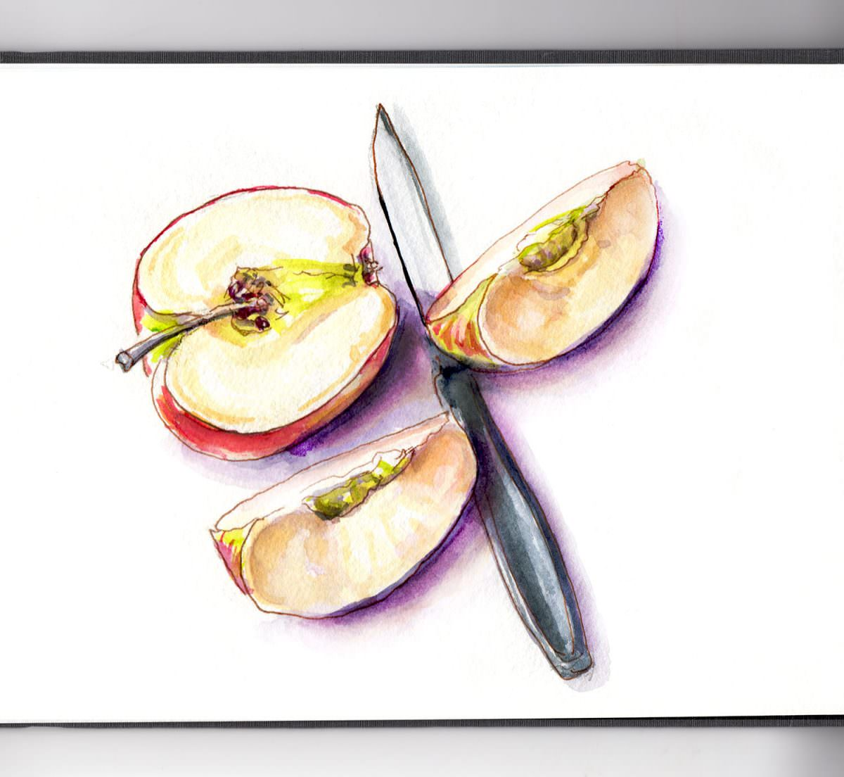 #WorldWatercolorGroup - Day 2 _ An Apple A Day Watercolor - Doodlewash