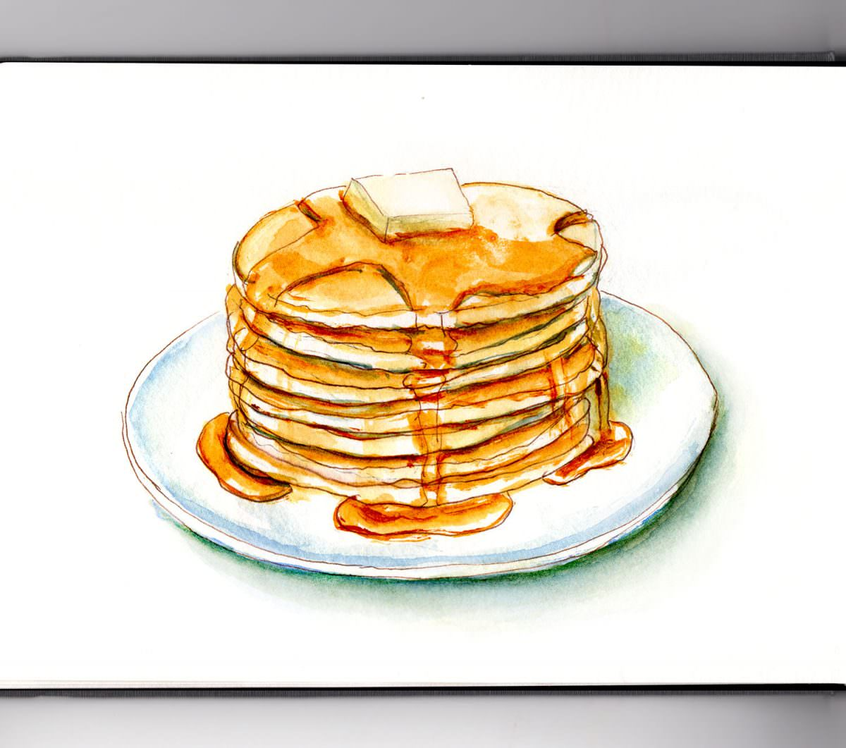 #WorldWatercolorGroup - Day 7 - Maple Syrup and Pancakes - Doodlewash
