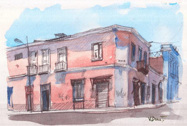 """sketch of an old building in Lima center, """"el estanque de la sal"""". pencil and watercolor"""